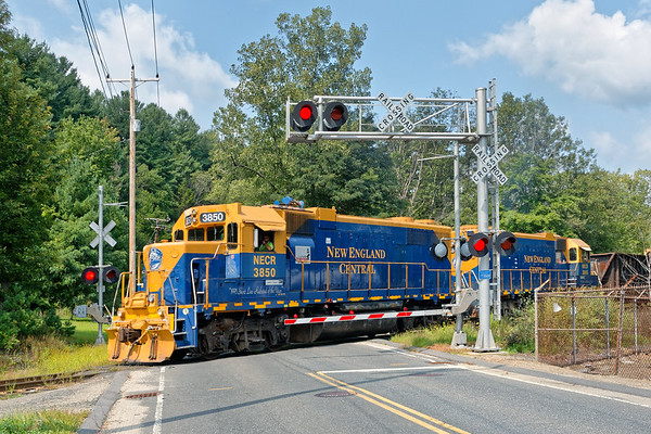 NECR train 608 at the Hospital crossing just south of their yard in Palmer MA.<br /> 8/27/2018