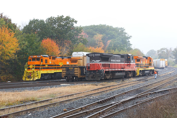 Back in Gardner, with the afternoon fog settling in, the P&W starts switching three tracks worth of freight and auto racks.<br /> 10/8/2018
