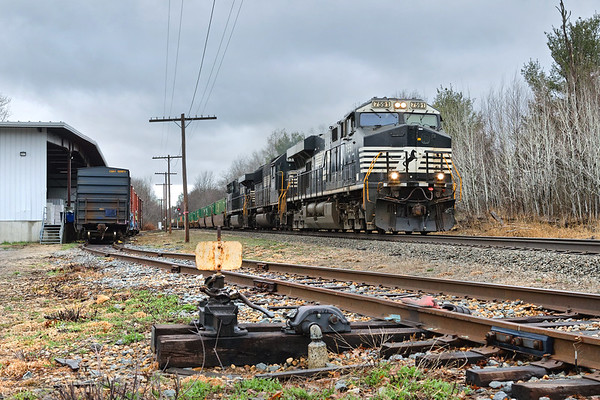 With three NS units pulling 120 cars, Pan Am train 22K rolls through Otter River MA.<br /> 4/26/2018