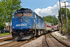 """Inbound commuter heads out of the Ayer station with blue and white massDOT """"fishbones"""" no.1056 pushing.<br /> 8/20/2018"""