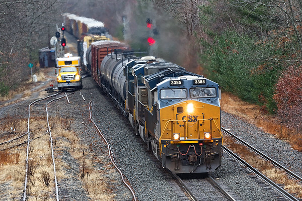 Right on the tail of the auto racks was Q426 splitting the signals at MP64. Three trains in 50 minutes - a rare level of activity on the B&A.<br /> 11/27/2018