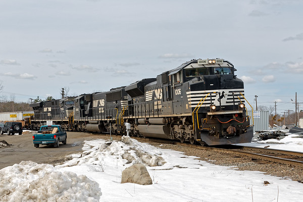 AY-relief backs down the east Wye of the Hill yard.<br /> 3/23/2018