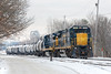 In the Hill yard at Ayer MA, train ED-9 (with Grumpy Mc Grumpus at the throttle) ties on to a line of oil cans destined for East Deerfield. 1/19/2018