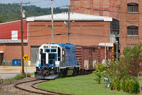 Backing down the hill into the South Barre mill complex with a cut of cars requires some fancy braking as the train picks up speed...<br /> 8/10/2018