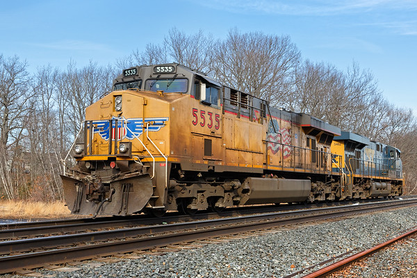 Visitor from the West!<br /> Train Q264 light power sits idling at MP64 in East Brookfield MA. 2/13/2018