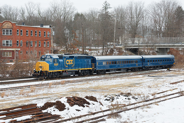 CSX geometry train with CSX 9969 on the point and cars Hocking Valley and Track Geometry Car TGC3 running through MP64 in East Brookfield MA.<br /> 11/21/2018