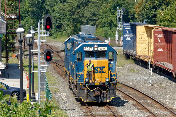 At MP83 in Palmer MA, B740 light power eases down the main past the newly installed Darth Vader signals.<br /> 8/29/2018