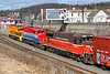 A colorful NECR lashup - CS 2021 (in G&W livery), NECR 3040 and P&W 2215 - backs down the lead into the CSX yard at MP83 in Palmer MA.<br /> 3/6/2018