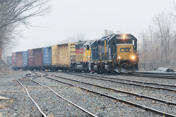 Meanwhile back in foggy Palmer, train B740 picked up Connecticut Southern 3399 in addition to their usual string of cars for Springfield.<br /> 2/15/2018