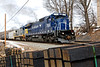 Pan Am 7552, a newly painted C40-8, is on the point as train ED-8 pulls hard out of the Fitchburg MA yard.<br /> 3/23/2018