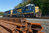 Train B740 light power idles in the CSX yard at MP83 waiting for an eastbound stack train to come through.<br /> 10/5/2018