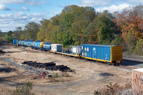 A section of the Safety Train sits quietly on the siding in the small yard at MP64 in East Brookfield MA.<br /> 10/25/2018