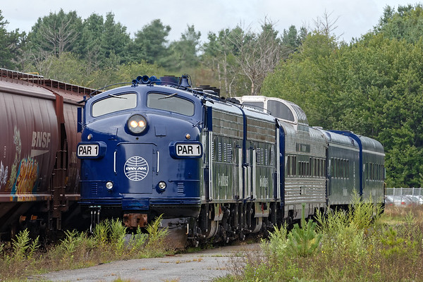 Meanwhile, the Pan Am OCS train hides out in the puckerbrush near the old Ford plant at the Willows.<br /> 8/20/2018
