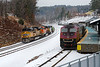 """More bright colors - shortly after 22K was out of sight, it's flip side, 23K, came up the hill past the new Wachusett """"T"""" station with the same consist we had seen in Ayer earlier in the day. 1/19/2018"""