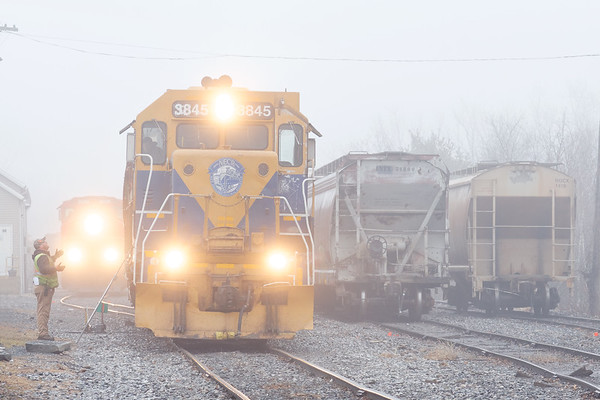 NECR working in the early morning fog in the yard at Palmer MA.<br /> 2/15/2018
