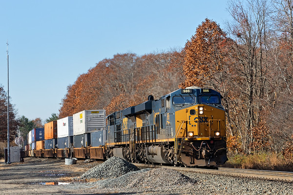 Running at track speed right on the tail of 012, train Q022 hits the signals at MP57, Charlton MA.<br /> 11/8/2018