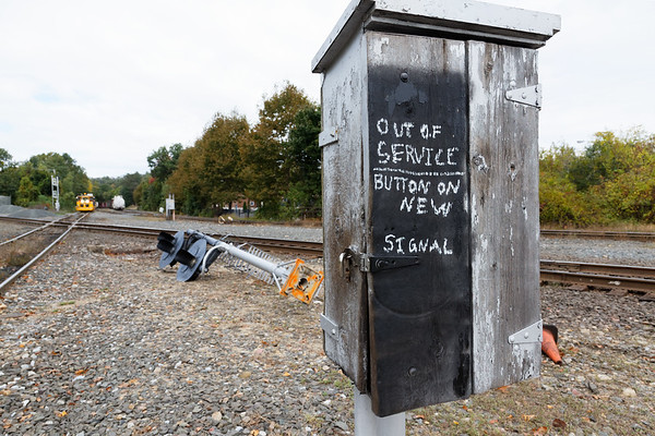 At the diamond, with all the new signals cut in, the old wooden call box has been put out to pasture.<br /> 10/12/2018