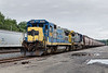 Grain from here to there...<br /> The first half of an empty grain train sits quietly in the Fitchburg yard.<br /> 8/20/2018
