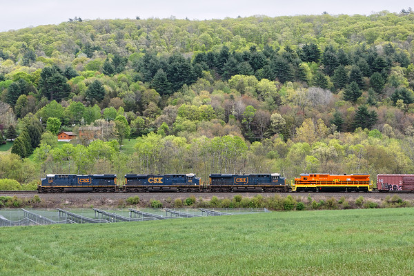 A spot of color!<br /> Framed by a background of early Spring foliage, train Q436 approaches MP79 in Palmer MA. The fourth unit is P&W 4051, a C40-8 in new P&W/G&W livery named for Hans Michael Norkus, a member of the Board of Directors of Genesee & Wyoming Inc.<br /> 5/14/2018