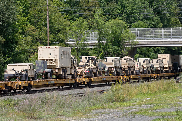 Happened to catch an interesting DOD move at MP64 in East Brookfield MA today. More than 160 pieces of rolling stock from New Hampshire's 197th Artillery Brigade are on their way to Camp Grayling in Michigan where they will be included in Operation Northern Strike during the month of August.<br /> 7/21/2018