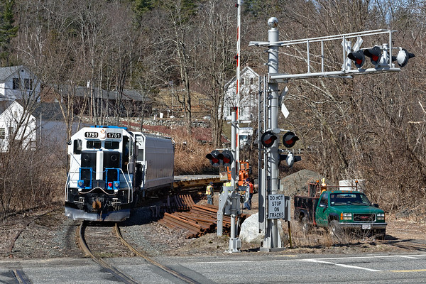 Mass Central 1751 pauses in Three Rivers to pick up rail to go north.<br /> 4/5/2018