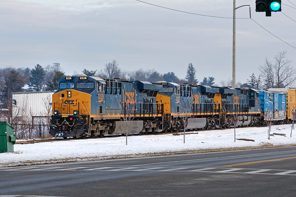 Having just come south off Pan Am, CSX train Q427 waits for a crew at New Bond St. in Worcester MA. 1/19/2018