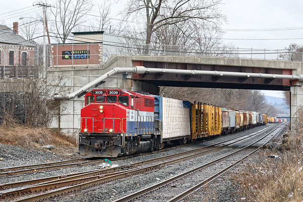 NECR 3039 on the yard lead at the far west end of the CSX yard in Palmer MA. 2/23/2018