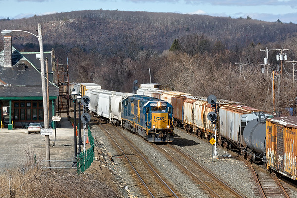 After a reverse move to take the siding, B740 eases into the Palmer yard.<br /> 3/6/2018