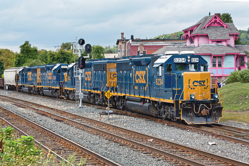 In Palmer MA, B740 backs down the yard lead with a cut of cars for the Mass Central.<br /> 9/4/2019