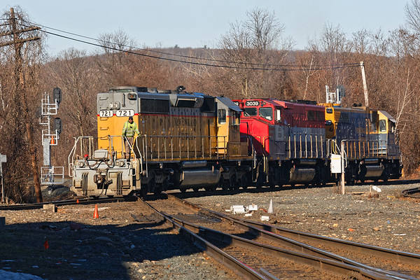 """Another """"rainbow consist"""" from NECR eases across the diamond at MP83 in Palmer MA.<br /> 2/6/2019"""