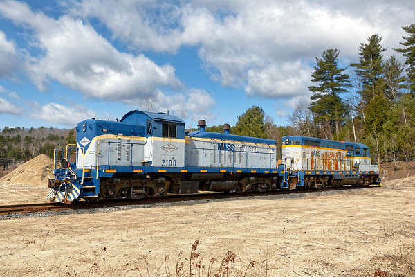 Still stored in a sandpit in central Massachusetts are MCER 2100 and 960. 960 is an EMD GP20 built in 1954 and 2100 is an EMD NW5 built in 1947.<br /> 2100 was the last of a total of 13 NW5s built and one of only two still in existence.<br /> 4/1/2019