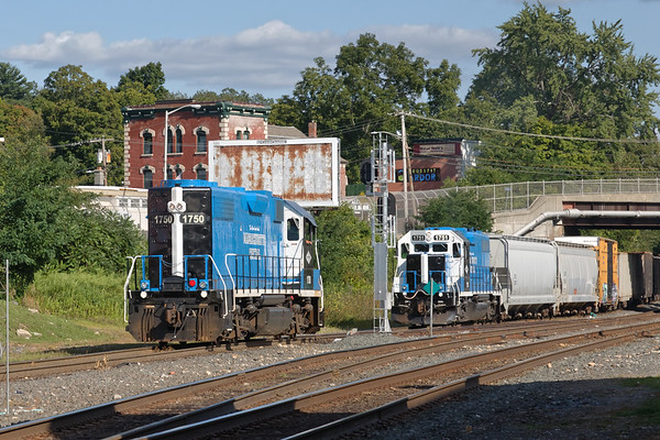Both MCER 1750 and 1751 on the yard lead at MP83 in Palmer MA.<br /> 8/26/2019