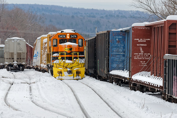Conductors delight......NOT!<br /> The NECR yard at Palmer was plugged, with both railcars and snow.<br /> 12/4/2019