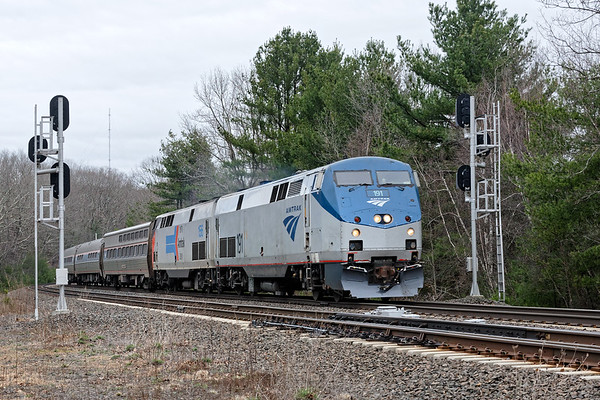 Amtrak 449 splits the signals at MP60 in Spencer MA.<br /> 4/18/2019