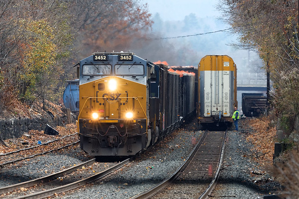 At MP83, B740 holds the main as Q427 runs by on the siding.<br /> 11/11/12019