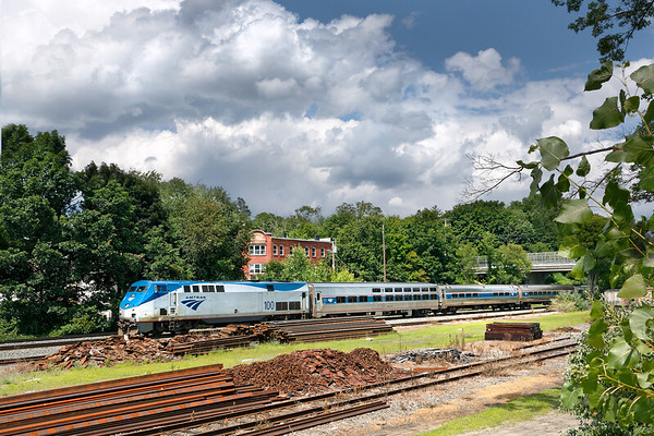 Ontime Amtrak 449, the Lake Shore Limited, runs through MP64 in East Brookfield MA.<br /> 8/4/2019