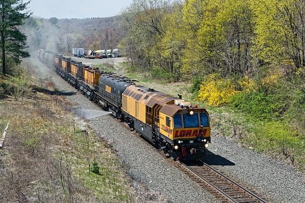LORAM railgrinder at West Warren MA.<br /> 4/29/2019
