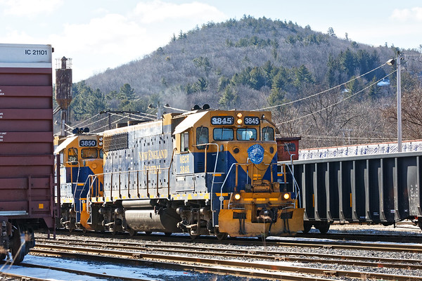 NECR 3845 leads train 608 into the Palmer MA yard.<br /> 2/26/2019