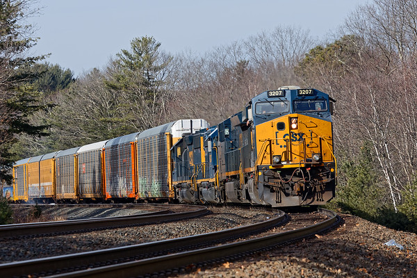 Eventually the power from both trains shoved 264's racks all the way down the siding to the EBSR. The light power then ran around to MP64 and B740 headed back to Palmer and Springfield.<br /> 2/6/2019