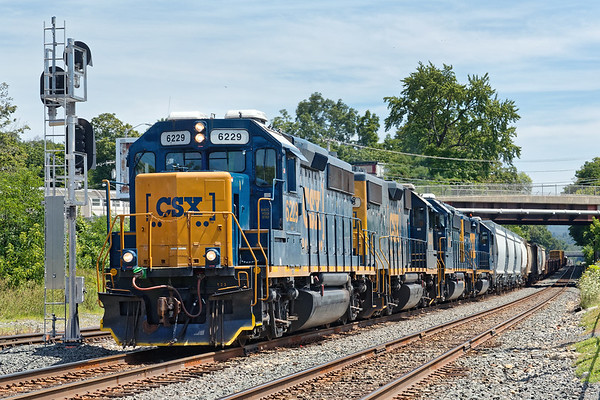 Sporting four units and a long train, B740 heads back to Springfield from the CSX yard at MP83 in Palmer MA.<br /> 8/5/2019