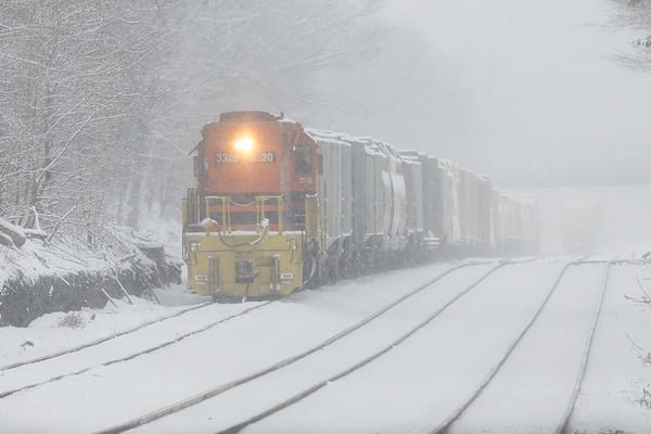 Winter Wonderland - NECR 3320 works the CSX yard at MP83 in Palmer MA in a heavy snow shower.<br /> 2/18/2019