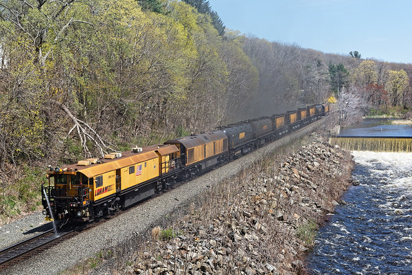 LORAM railgrinder at West Warren MA.<br /> 4/29/2019