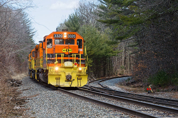 NECR 3320 sets up to do some switching at Barretts, just north of Three Rivers MA.<br /> 4/1/2019