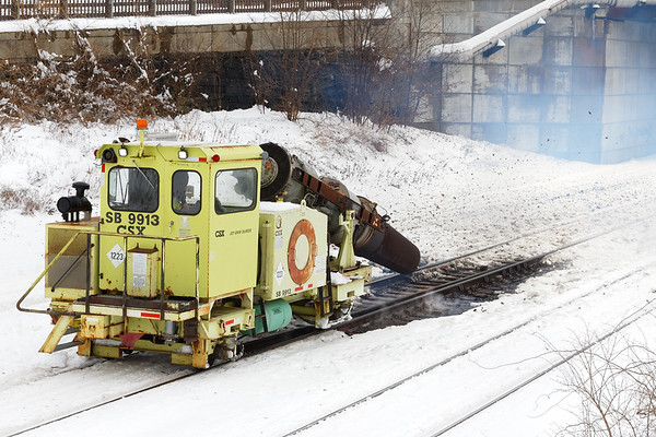In just a few minutes, the Snow Jet has melted and blown away all the ice and snow and debris and even some ballast from around the switch.<br /> 12/4/2019