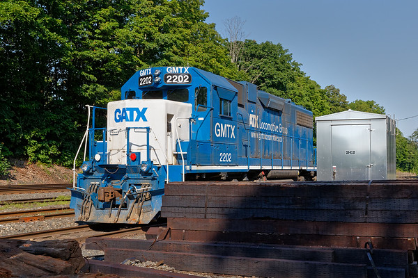 GMTX 2202 sits quietly in the CSX yard at MP83 in Palmer MA.<br /> 7/14/2019