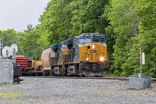 CSX 3456 is on the point of a very long Q426 as it slowly pulls through MP57 in Charlton MA.<br /> 5/29/2019