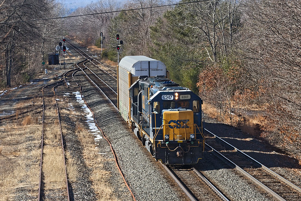 B740 arrives at MP64 in East Brookfield with a lone car for the EBSR.<br /> 2/6/2019