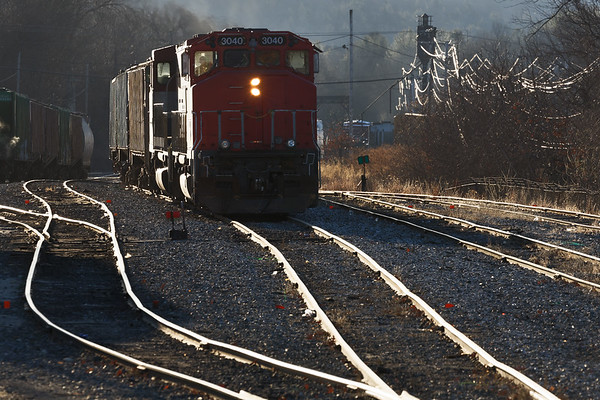 Early morning highlights in the NECR yard at Palmer MA.<br /> 1/11/2019