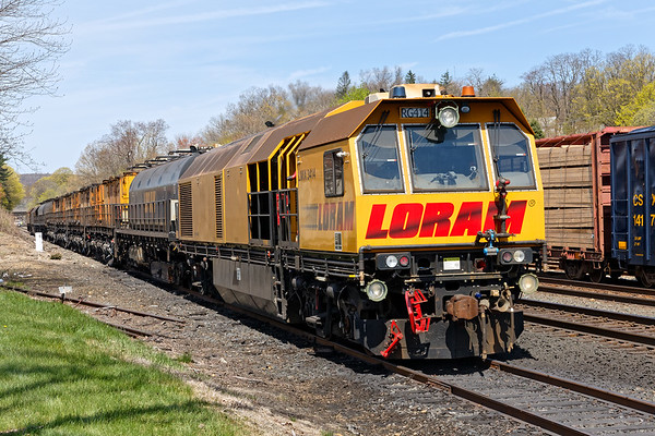 LORAM rail grinder on the storage track at MP83, Palmer MA.<br /> 4/29/2019