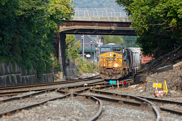 Q426 splits the signals at MP83 and heads under the Main St. bridge.<br /> 9/23/2019